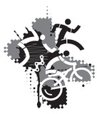 Triathlon Race, abstract stylized. 