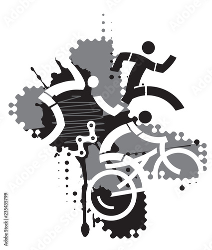 Triathlon Race, abstract stylized.  Three triathlon abstract stylized athletes on the black and gray background. Vector available.