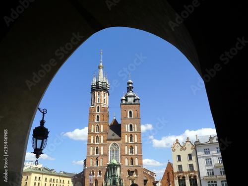 fototapeta na ścianę St Mary`s Basilica or Mariacki Church, a symbol of Krakow and one of the most famous landmarks in Poland