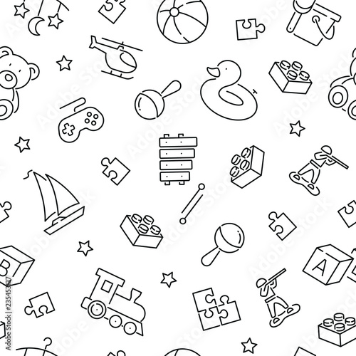 obraz lub plakat Seamless pattern with baby toys. Black and white thin line icons