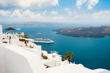 White architecture on Santorini island, Greece. Beautiful summer landscape, sea view. - 235455308