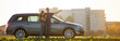 Leinwandbild Motiv Young couple, slim attractive woman with long ponytail and handsome man pointing in distance standing at silver car in green field on blurred apartment building and clear sky copy space background.