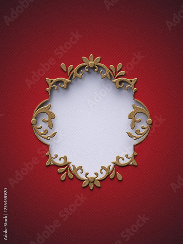 Leinwanddruck Bild 3d render, digital illustration, Christmas red background, flat paper craft, layers, gold frame, blank banner, cut hole, greeting card template, empty space