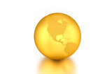 3D render: Golden globe showing North America isolated on white