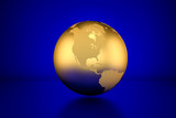 3D render: Golden globe showing North America in front of blue background