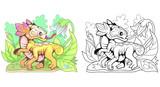 cartoon little cute flower dragon, funny illustration