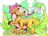 cartoon little cute flower dragon, funny illustration