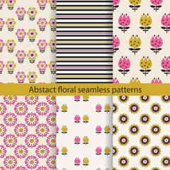 Abstract floral seamless pattern set © annata78