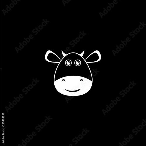 Cute cow icon or logo on dark background