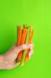 Leinwandbild Motiv Fresh carrots and celery sticks in woman's hand