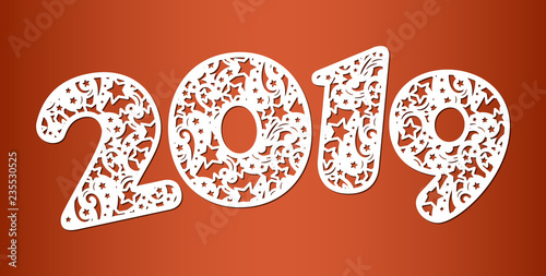 happy new year numbers 2019 for laser cutting with pattern of swirls and stars template