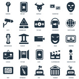 Elements Such As Diamond, Museum, Axe, Notebook, Map, Earth globe, Mask, Cafe, Canvas, Cctv, Buffalo, Pop art icon vector illustration on white background. Universal 25 icons set.