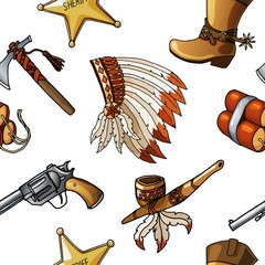 Seamless vector cowboys and indians pattern boy kid textile design