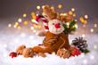 Leinwandbild Motiv Niedliches Stofftier im Kinderschuh zum Nikolaus