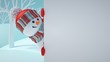 Leinwandbild Motiv 3d render, cute snowman, playing hide and seek, looking out the corner, holding blank banner, white page, Christmas background, New Year, greeting card template, space for text, winter landscape