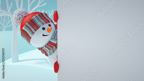 3d render cute snowman playing hide and seek looking out the corner