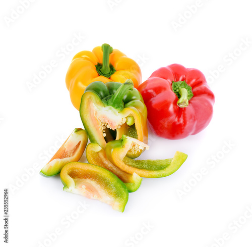 sweet pepper slices isolated on white background - 235552964