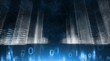 Digital cityscape cyberspace network with binary numbers background.  - 235555933