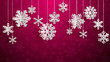 Christmas illustration with white three-dimensional paper snowflakes hanging on crimson background - 235557179