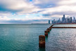 Pillars in Lake Michigan with the Chicago Skyline in the Distance