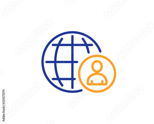 a875d17dee04 International business recruitment line icon. Global human resources sign.  Colorful outline concept. Blue