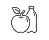 Apple line icon. Fruit, water bottle sign. Natural food symbol. Quality design flat app element. Editable stroke Apple icon. Vector