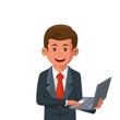 Businessman Holding a Laptop Illustration - 235578957