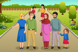 Families Enjoying the Park Outdoors Illustration