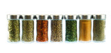 collection of spice and herbs seasoning in glasses bottles isolated on white background - 235584919