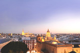 Cityscape of Seville at sunset.