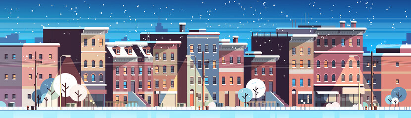 city building houses night winter street cityscape background merry christmas happy new year concept flat horizontal banner flat vector illustration © mast3r