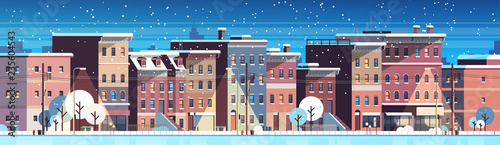 city building houses night winter street cityscape background merry christmas happy new year concept flat horizontal banner flat vector illustration