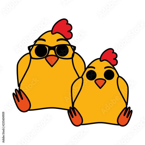 cute chickens couple characters