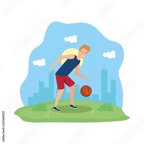 człowiek uprawiania koszykówki charakter