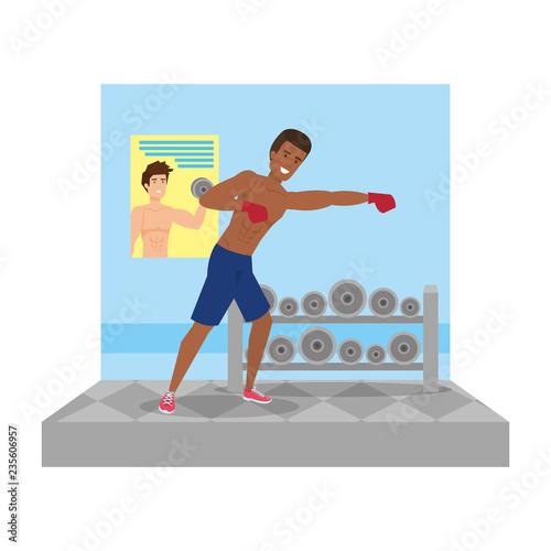 człowiek uprawiania boksu charakter