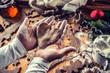Leinwanddruck Bild - Christmas baking and gingerbread heart in woman hands