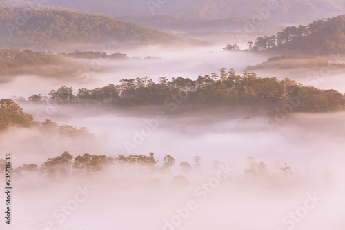 Amazing view of mountain, mist & cloud when dawn coming. - 235611733