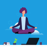 Businesswoman doing yoga and meditation. Girl hanging in lotus pose over office desk. Woman yoga pose lotus, meditating and relaxation illustration