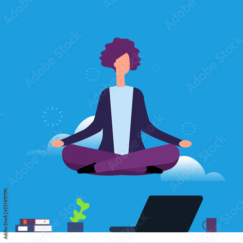 Naklejka Businesswoman doing yoga and meditation. Girl hanging in lotus pose over office desk. Woman yoga pose lotus, meditating and relaxation illustration