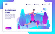Man running in park. Fitness workout and healthy body life style landing page. Character man run outdoor, fitness and athletic illustration