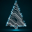Abstract technology glowing Christmas tree, neon circuit board