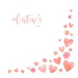 Happy Valentines day watercolor vector illustration. - 235622316