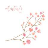Love Valentine's day watercolor vector illustration. - 235622333