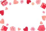 Happy Valentines day watercolor vector illustration. - 235622368