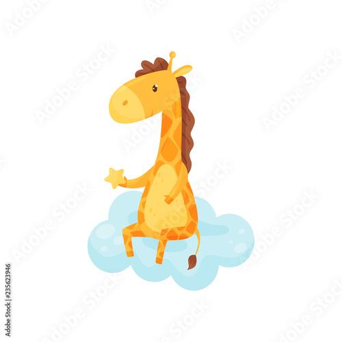 Cute sleepy little giraffe sitting on a cloud, lovely animal cartoon character, good night design element, sweet dreams vector Illustration