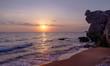 Sea coastline at sunset.
