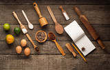 Ingredients for baking - eggs,flour,sugar on dark wooden background. Top view with space for text. Flat lay. - 235628395