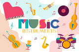 Set of music instruments. Editable vector illustration