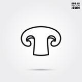 Mushroom slice vector line icon