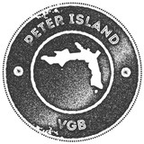 Peter Island map vintage stamp. Retro style handmade label, badge or element for travel souvenirs. Dark grey rubber stamp with island map silhouette. Vector illustration. - 235635165